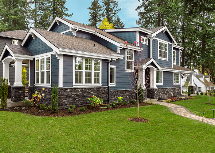 Home exterior painted darker blue